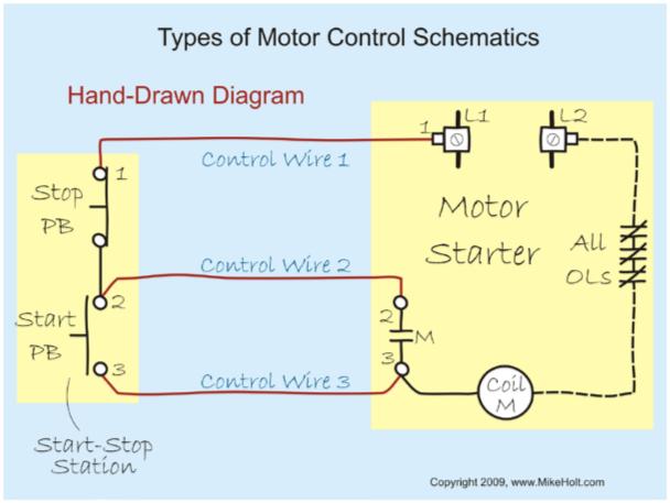 Figure 1-9 Types of Motor Control Schematics Hand Drawn Diagram