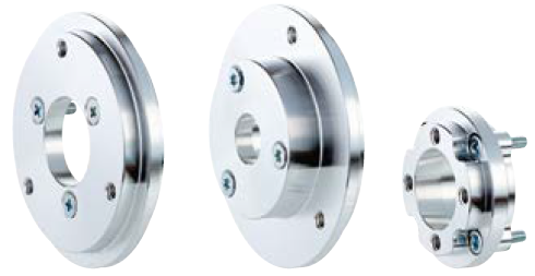 Left = Flange adapter for a 36 series face mount flange to a servo flange;  Center = Flange adapter for a 20 series face mount flange to a 36 series face mount flange; Right = Special flange adapter.