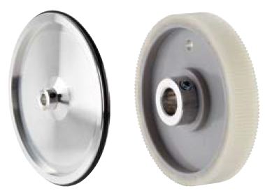 Left = Measuring wheel with O-Ring surface; Right = Measuring wheel with ribbed plastic surface.